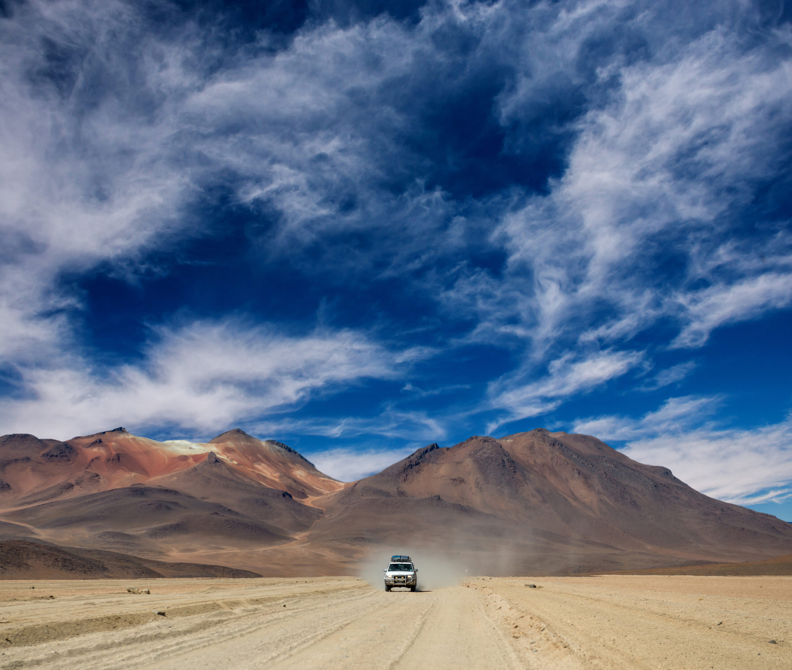 Car riding in Bolivian sunshine landscape